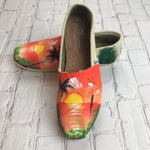 New Toms Classic Orange  Hand painted Lmtd Edition